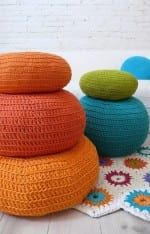 Crocheted or hand knitted pouf