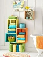 DIY Coloured Crate Storage