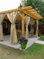 Burlap Curtains for the Pergola