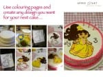 Use colouring pages to decorate your next cake