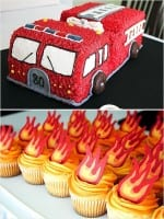 Fire Truck Cake & Flame Cupcakes