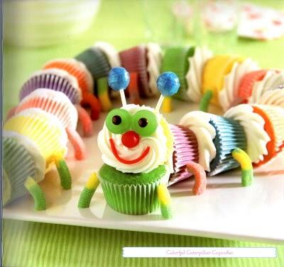 Colourful Caterpillar Cupcakes