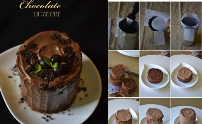 CHOCOLATE MINI CAKE   TIN CAN CAKE   EGGLESS CHOCOLATE CAKE