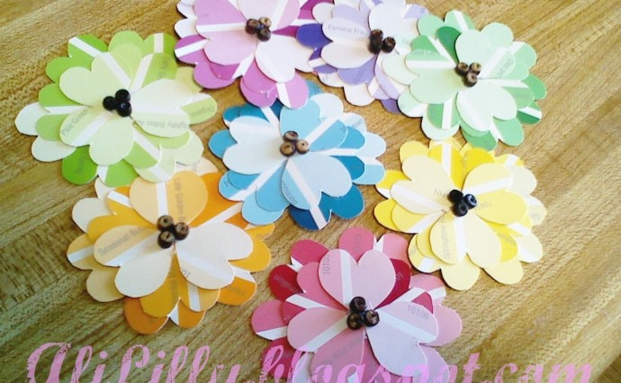 DIY Spring Flowers from Paint Chips